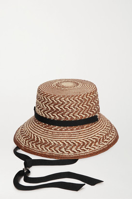 Sensi Grosgrain-trimmed Two-tone Toquilla Straw Bucket Hat - Brown