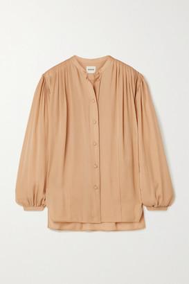 KHAITE Denny Gathered Silk-crepe Shirt - Peach