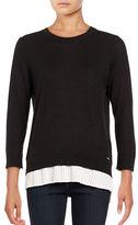 Calvin Klein Pleated Cotton Blend Sweater