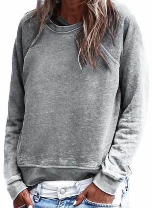 FIYOTE Jumper for Women Long Sleeve T-Shirt Pullover Sweatshirt Autumn Winter Casual Warm Tops Size 12