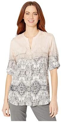 Calvin Klein Crew Neck Roll Sleeve Blouse (Blush Ombre) Women's Blouse