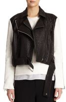 Helmut Lang Colorblocked Pebbled-Leather Moto Jacket