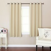 "Best Home Fashion Thermal Insulated Blackout Curtains - Antique Bronze Grommet Top - Beige - 52""W x 63""L - No tie backs (Set of 2 Panels)"