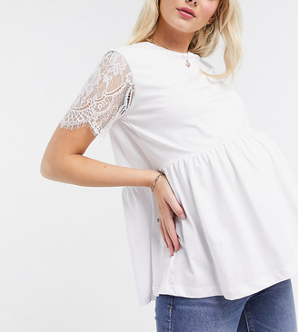 ASOS DESIGN Maternity exclusive smock top with lace sleeve in black