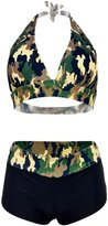 Futurino Women's Retro Camouflage Halter Padded Triangle Bikini Set Swimsuit M