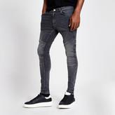 River Island Grey ollie biker spray on skinny jeans