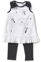 Rare Editions Baby Girls 12-24 Months Butterfly/Flower-Appliqued Dress & Dotted Leggings Set