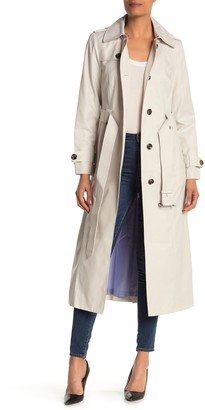 London Fog Missy Removable Hood Trench Coat