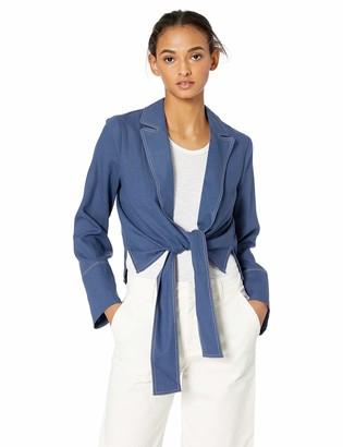 Moon River Women's Front Tie Cropped Blazer