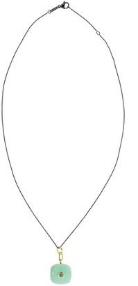 Monica Rich Kosann 18kt yellow gold sapphire enamel Cushion locket necklace