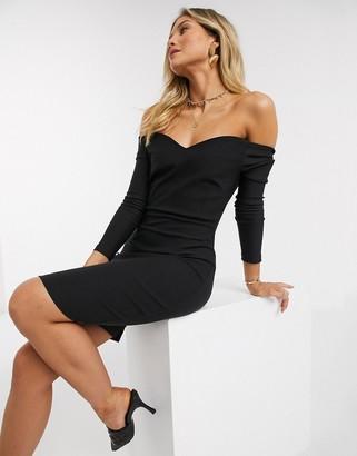 Vesper long sleeved bandeu mini dress in black