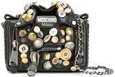 Moschino button applique biker bag - women - Leather/Brass - One Size
