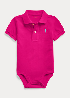 Ralph Lauren Cotton Mesh Polo Bodysuit