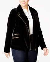 INC International Concepts Plus Size Velvet Moto Jacket, Only at Macy's