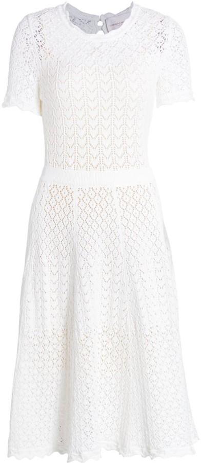 Carolina Herrera Lace-Eyelet Short-Sleeve Fit-&-Flare Dress