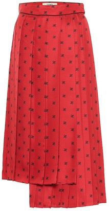 Fendi Asymmetric printed silk midi skirt