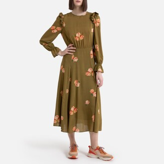 La Redoute Collections Floral Print Midi Dress with Long Ruffled Sleeves