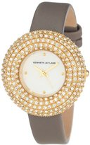 Kenneth Jay Lane Women's KJLANE-2503S-014 Mother-Of-Pearl Dial Crystal Accented Grey Silk and Leather Watch