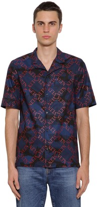 Valentino Micro Greed Printed Cotton Poplin Shirt
