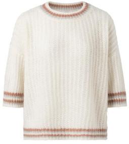 Ya-Ya Fluffy Open Knitted Boxy Sweater With Contrast Stripes - Medium / Large