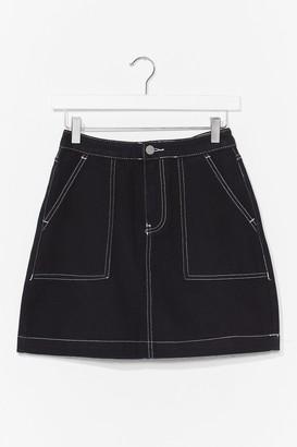 Nasty Gal Womens Stitch Denim Mini Skirt - Black - XL