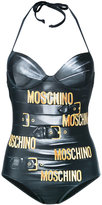 Moschino printed halter neck swimsuit