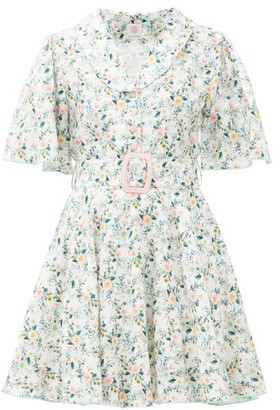 Gül Hürgel Floral-print Belted Linen Mini Dress - White Multi