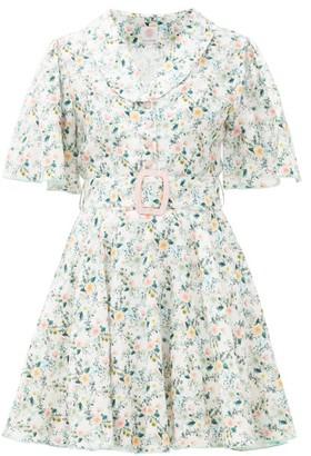 Gül Hürgel Floral-print Belted Linen Mini Dress - Womens - White Multi