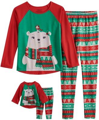 Cuddl Duds Girls 4-10 Fairisle Polar Bear Top & Bottoms Pajama Set & Matching Doll Pajamas