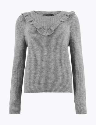 Marks and Spencer Textured Frill Detail Long Sleeve Jumper