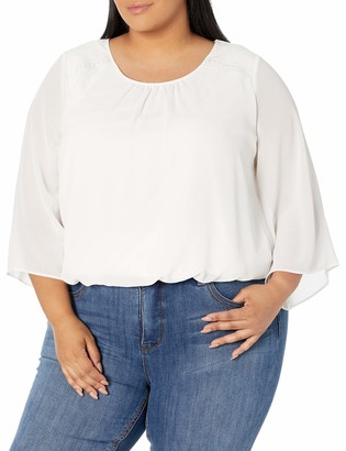 Amy Byer Women's Plus Size Shirred Banded Hem Top