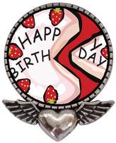 GiftJewelryShop Ancient Style Silver Plate Pink Strawberry Birthday Cake Heart With Angel Wings Pins Brooch