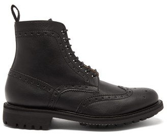 Grenson Fred Faux-leather Brogue Boots - Black