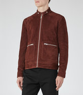 Reiss Reiss Eli - Suede Zip Jacket In Brown