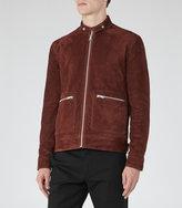 Reiss Reiss Eli - Suede Zip Jacket In Brown, Mens