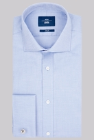 Moss Bros Slim Fit Sky Double Cuff Oxford Textured Shirt