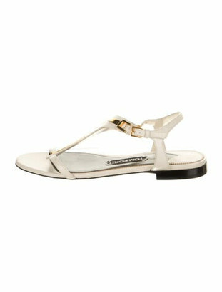 Tom Ford Leather T-Strap Sandals White