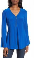 Chaus Women's Zip Front Flounce Sleeve Top