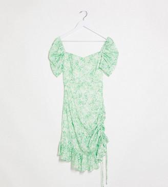 Dark Pink puff sleeve mini dress in green floral