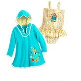 Disney Store Little Girls' Frozen Glitter Accents Swimsuit and Cover-Up