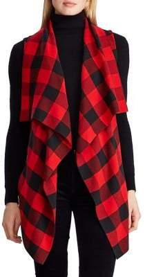 Lauren Ralph Lauren Plaid Draped-Front Cotton-Blend Vest