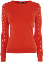 Karen Millen Red Knitted Crew Neck Jumper - Red