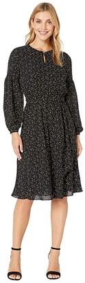 Lauren Ralph Lauren Blouson Sleeved Dress (Polo Black/Mascarpone Cream) Women's Dress