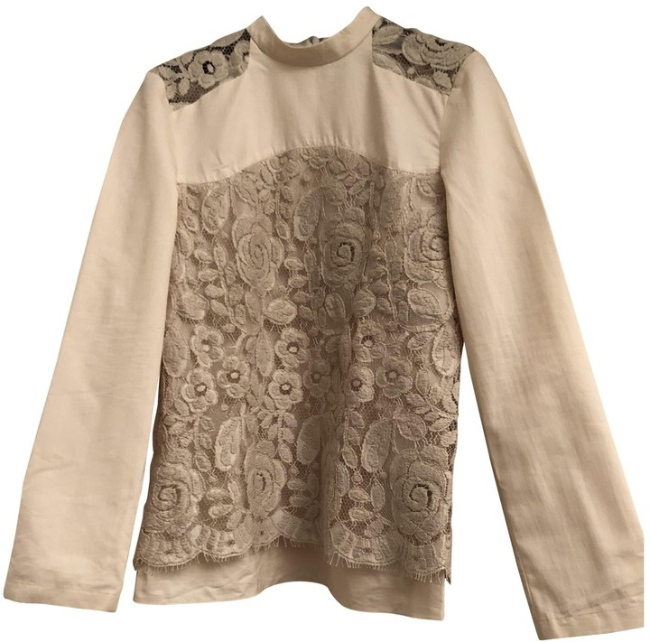 Creatures of the Wind Ecru Cotton Top for Women