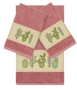 Linum Home Mila 3-Pc. Embroidered Turkish Cotton Bath and Hand Towel Set Bedding