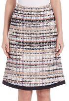 Oscar de la Renta Grosgrain A-Line Tweed Skirt