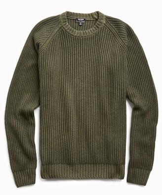 Todd Snyder Garment Dyed Cashmere Raglan Rib Crew in Olive