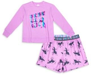 Wonder Nation Girls Lightweight Sweatshirt and Shorts Pajama Set, 2-Piece, Sizes 4-16 & Plus