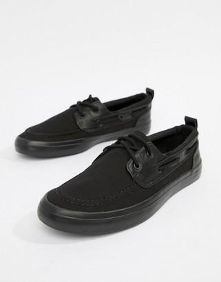 Asos Design DESIGN boat shoes in black