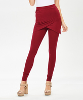 Bellino Burgundy Wrap-Accent Leggings